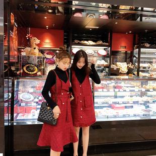 2019春装女装 V领裙子背带裙红色吊带连衣裙闺蜜装女春秋