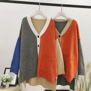 前短后长冬季女装宽松大码单排扣文艺拼色针织外套LY