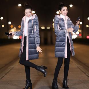 2018冬装女装中长款加厚羽绒棉服金丝绒棉袄棉衣外套
