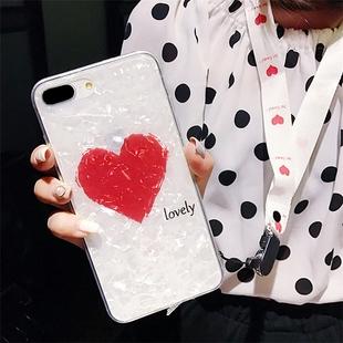 苹果8卡通手机壳苹果手机6s保护套镜面镜子苹果7plus手机壳8X带子iphone6plus防摔硅胶iponex软壳送钢化膜