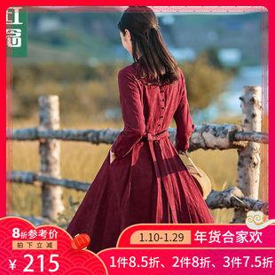 红念棉麻法式复古超仙长袖连衣裙女春装2019中长款长裙子