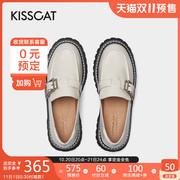 接吻猫2021年秋季潮流时尚厚底小皮鞋撞色油蜡皮JK风乐福鞋女