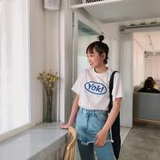 王少女的店 2019春装白色短袖t恤女宽松港风百搭学生上衣
