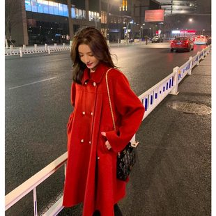钱夫人CHINSTUDIO新年战袍斗篷红色羊毛双面呢大衣女短款毛呢外套
