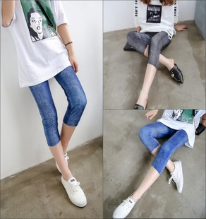 夏季外穿七分裤仿牛仔格子印花薄款打底裤显瘦弹力7分女裤子