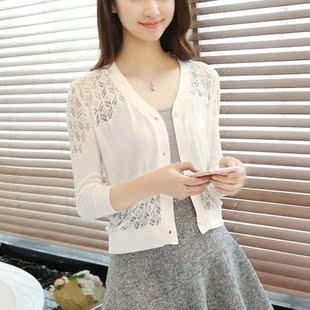 纱衣针织衫小披肩夏季小衫短外套中款韩国七分袖毛衣女款薄款外衣