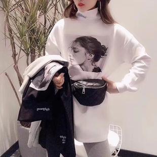 欧货大版内搭高领打底衫2019春秋时尚宽松长袖白色t恤女心机上衣