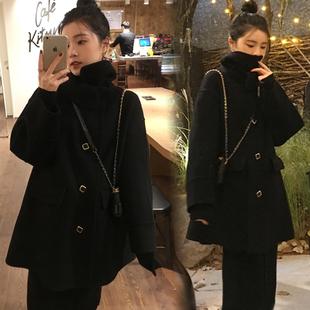 黑色呢子大衣女2018冬装中长款赫本风小个子chic毛呢外套