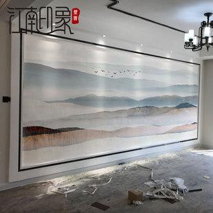 5d立体简约现代电视背景墙壁纸客厅新中式山水3d墙纸影视墙布壁画