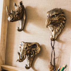 掬涵 树脂金属铜色兽头 挂钩装饰挂件壁挂复古艺术 大象犀牛