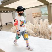男童套装夏季2021潮儿童帅气短袖夏季童装宝宝牛仔短裤两件套