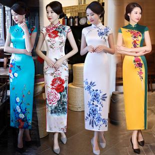 旗袍长款优雅年轻款少女2019改良复古中国风老上海走秀连衣裙