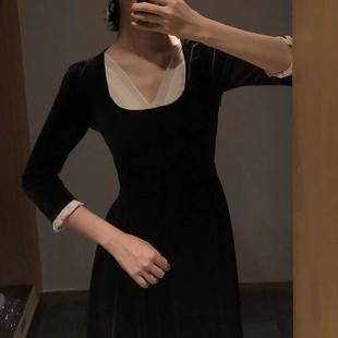 Srose 维多利亚复古裙法式丝绒假两件V领连衣裙打底裙女秋冬