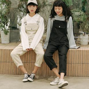 慕兔ins学生宽松牛仔背带裤女2019春季勾勾裤长裤子