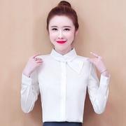 雪纺衬衫女2020秋冬长袖洋气醋酸上衣时尚气质女士职业白衬衣