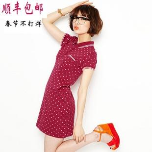 夏季纯棉波点印花t恤 韩国宽松中长款polo衫女A型翻领短袖连衣裙