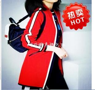 韩国女装2021春秋装明星同款红色棒球服小资中长款高级外套