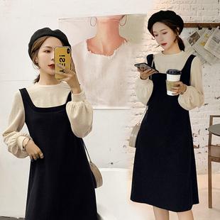 蓝语大码冬装女装2018胖妹妹mm打底裙子遮肚假两件显瘦连衣裙