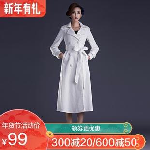 2018秋季双排扣女士外套蕾丝系带风衣中长款气质外套