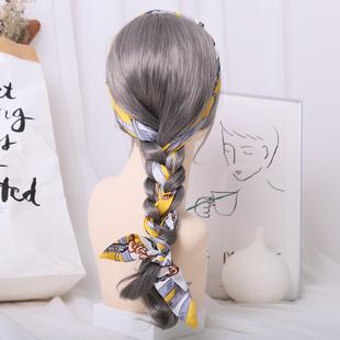 港风女网红头绳麻花辫编发复古发带飘带头饰韩国丝巾扎发绳绑发箍