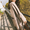 张大奕 中长款100羊毛手工双面呢子大衣女冬圆领斗篷chic毛呢外套