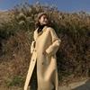 EKOOL毛呢大衣女中长款冬季2018双排扣毛毛加厚呢子外套