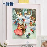 DMC十字绣套件 创意卡通动物风景 儿童房挂画 彼得兔 冬日系列