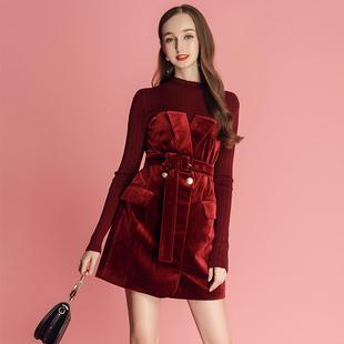 MIUCO2018裙子高贵气质假两件针织拼接丝绒连衣裙女秋冬