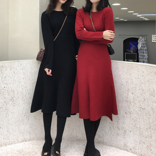 ASM2018冬季不规则针织连衣裙气质百搭打底毛衣裙子女装