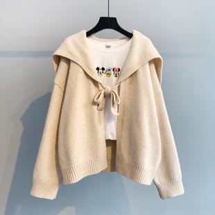 小清新短款毛衣开衫外套女2021秋季韩版宽松学生海军领针织衫