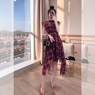 裙子收腰显瘦气质女装2019夏装长裙长款不规则雪纺格子连衣裙