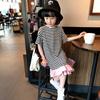 女童连衣裙2020夏装 韩版儿童条纹短袖裙 宝宝洋气花边长裙子