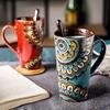 杯子陶瓷带盖勺马克杯大容量情侣杯创意咖啡杯复古风喝水杯子家用