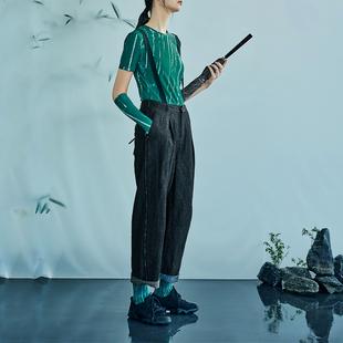 日着原创设计女装2021年夏季 亚麻牛仔裤子女宽松休闲背带裤