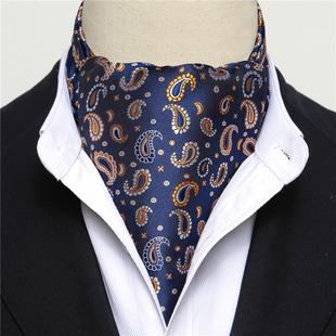 男士西装商务领巾男衬衫 冬季百搭英伦围巾领方巾潮印花围脖