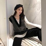 羊绒针织马甲女秋冬季韩国复古宽松慵懒坎肩格子外穿无袖背心毛衣