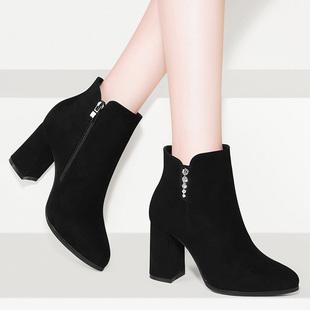 粗跟马丁靴2018网红瘦瘦靴秋女靴子冬鞋子百搭高跟鞋磨砂短靴