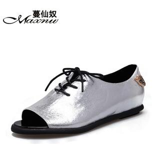 2014蔓仙奴春季 平跟鱼嘴女单鞋 系带浅口金属装饰低帮鞋