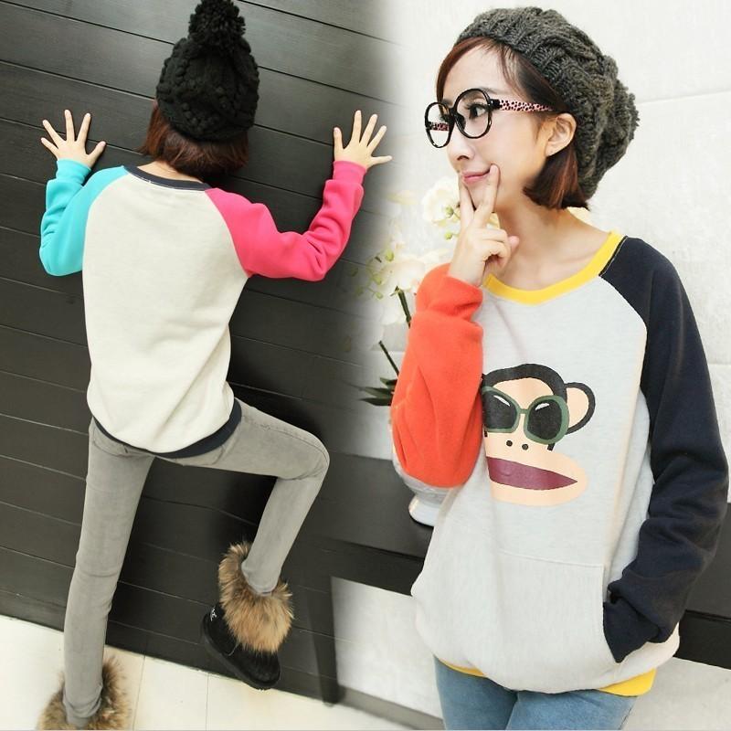 Толстовка женская xdx5047 2012 пуловер персонажи мультфильмов летящий рукав