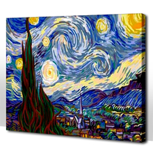 40 to 50 DIY digital painting rainy night evening tea DE cabin van gogh classic mailed a package of DIY/finished product