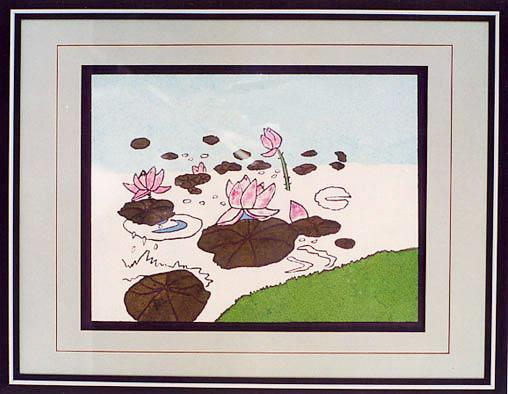 Фреска DIY декоративной живописи Lotus букетов живописи пейзаж # 023
