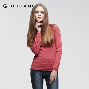 Giordano knit shirt ladies ' smooth round neck wool cotton knitwear 01351560