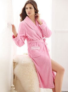 Dream ba Sally leisurewear qiu dong new clean lubricious coral flocking household elegant robe 0147