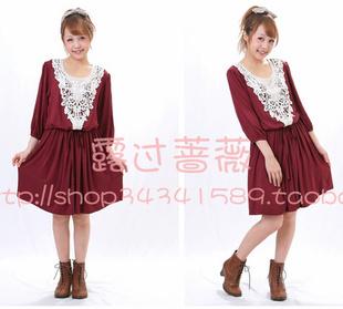 免运费IORI 同步598元巨型棉质蕾丝镶边连衣裙