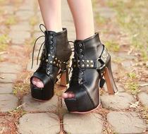 时尚两穿铆钉系带粗跟高跟防水台鱼嘴鞋个性单鞋皮带扣潮流女鞋子