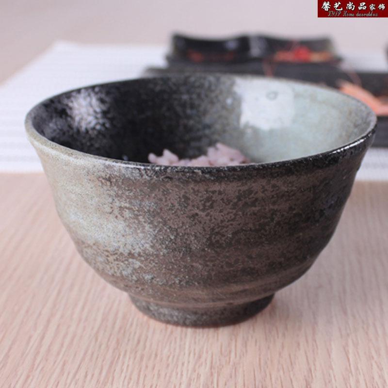 家居用品 米饭碗 汤碗 个性复古雪花渐变黑陶 自然风 限时特价