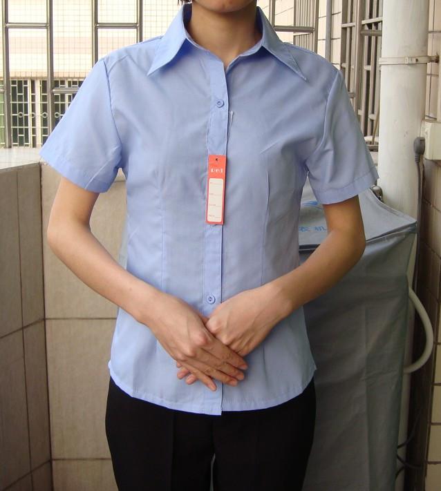 женская рубашка 933 OL Повседневный Короткий рукав Однотонный цвет