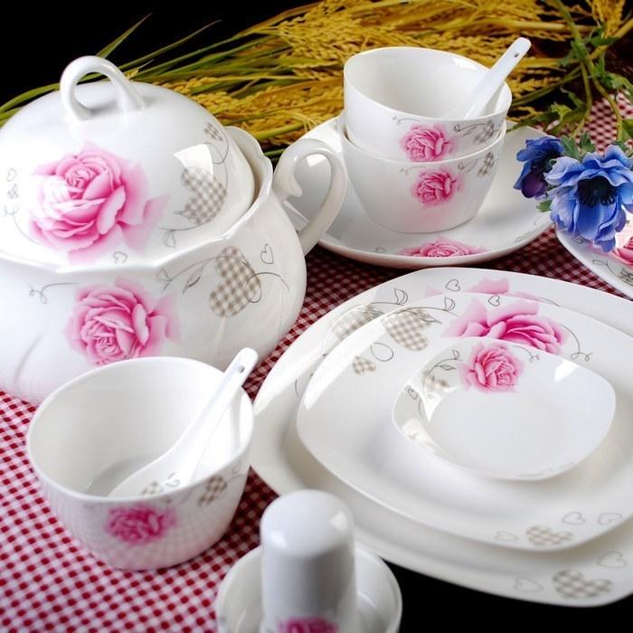 景德镇瓷器 56头骨瓷餐具 欧式高档套装组 餐饮厨房用品序强