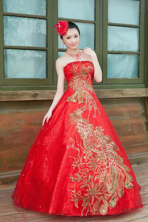 Вечернее платье Идеальный Феникс красной вышивкой свадьба свадебного тоста потрясающие ~ элегантный свадебное платье lf014