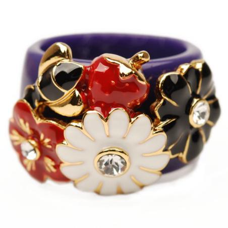 潮人 女 欧美 新款 钻石 指环 戒指 Cshow视诱3 0095 蓝色 花朵